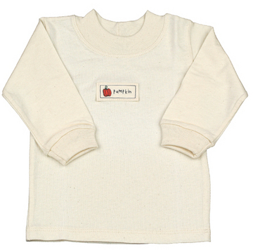 Organic Cotton Rib Long Sleeve T-Shirt with Pumpkin Patch