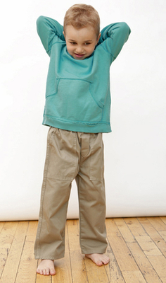 Boys organic cotton twill pants in khaki