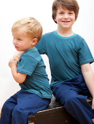 Short Sleeve Teal Tee w/contrast Collar | Organic Childrens Tees