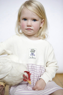 Preciously cute organic dress with soft velour bodice for girls