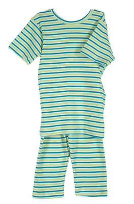 Organic Summer Pajamas in Lime & Teal Stripe | Organic Pajamas