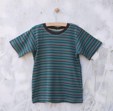 Short Sleeve Teal/Red/Gray Striped Tee | Organic Childrens Tees