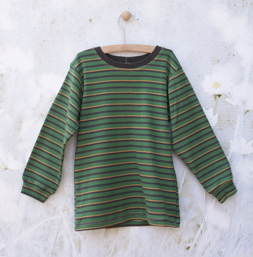 Long Sleeve Green/Yellow/Gray Striped Tee | Organic Childrens Tees