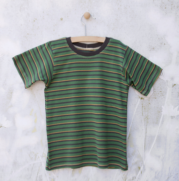 Short Sleeve Green/Yellow/Gray Striped Tee   Organic Childrens Tees