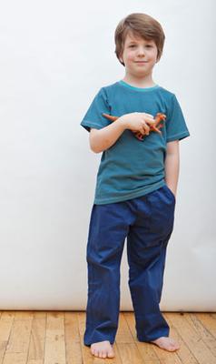Boys organic cotton twill pants in navy