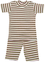 Image Organic Summer Pajamas in Cocoa & Pink Stripe