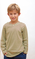 Image Long Sleeve Cocoa/Lime Striped V-Neck Tee (no cuff)