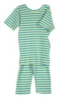 Image Organic Summer Pajamas in Lime & Teal Stripe