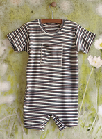 Image Organic Baby/Toddler Romper - Cocoa/Gray Stripe